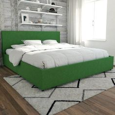 Novogratz Kelly Upholstered Full Bed with Storage - Green Best Platform Beds, Platform Bed With Storage, Full Bed With Storage, Bed Storage, Linen Storage, Upholstered Full Bed, Bed Dimensions, Bedroom Green, Furniture Decor