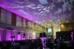 Gala Dinners and Awards Night. Transform large areas with high end moving head lighting, drapes, up-lights, LED Table Centrepieces and lighting effects