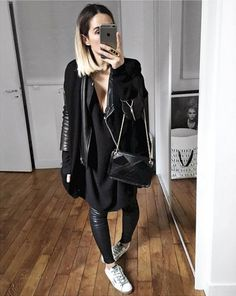 Old leather bags WEBSTA audreylombard - La demi saison arrive : gilet cachemire sans manches sur perfecto et chevilles lair! Cashmere Knit sleevless from Perfecto old Dress old Leather Pant on Sneakers from Bag from .