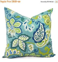 15% OFF SALE Two Throw Pillow Covers - Floral Pillow Covers - Blue Green Floral Pillow - Blue Pillow Cover - Decorative Pillow Cover by CastawayCoveDecor