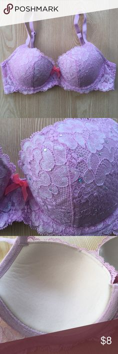 Victorias Secret Dream Angels Demi bra Victorias Secret Dream Angels Demi bra.  Fully adjustable straps.  Lightly lined. Lilac color with coral center bow and jewels on the cup. Size 32C. NEVER WORN! Victoria's Secret Intimates & Sleepwear Bras