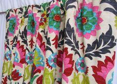 "Bright Home Decor, Southwestern Drapery Panels, Multi-Colored Drapes, Desert Flower Custom Curtains, Rod-Pocket Curtains, One Pair 50""W by asmushomeinteriors on Etsy https://www.etsy.com/listing/212054820/bright-home-decor-southwestern-drapery"