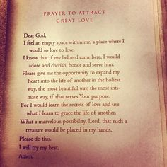 prayer to attract great love.