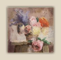 Modern original floral oil still life painting 12' x by JogitasART, $90.00