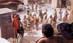 La gente de Nínive escuchando a Jonás hablar.HD.