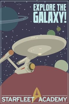 I'd try to put this in the boy's room but the hubby would steal it for his man cave. Explore the Galaxy - Star Trek Print by monkeyminion on #etsy $20