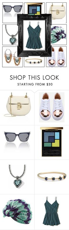 """""""Mixed Metals"""" by chelsofly ❤ liked on Polyvore featuring Chloé, Le Specs, Yves Saint Laurent, WWAKE, Missoni Mare and Hollister Co."""