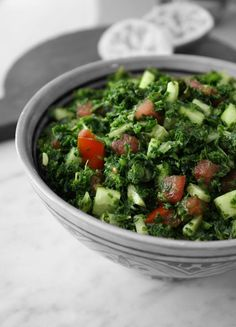 Kale Tabbouleh Yield: 4 to 6 servings Ingredients: 8 cups chopped kale, ribs and stems removed 1 cup fresh mint leaves 1 medium firm tomato, diced 1 medium cucumber, peeled and diced Finely grated zest and juice of 1 large lime Sea salt and freshly ground pepper, to taste 2 tablespoons olive oil