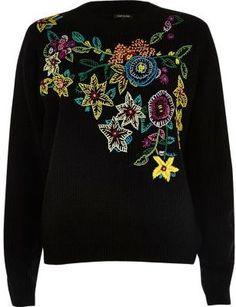 River Island Womens Black knit floral embroidered sweater Punto De Media 8b301de91624