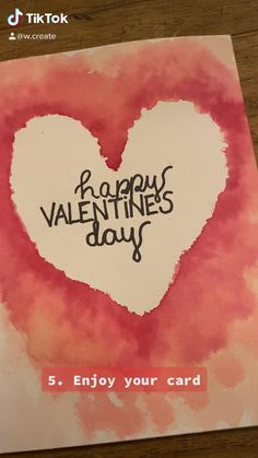 Botanical Heart Handmade Valentine Watercolor original art card Pink and Green Ink one of a kind custom distance hug kraft envelope