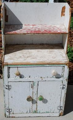 Early Antique Primitive Childs Stepback Cupboard