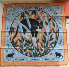 """HERMES """"CAVE FELEM"""" Cat & Mice blue and orange Silk Scarf with hermes box #HERMS #Scarf"""