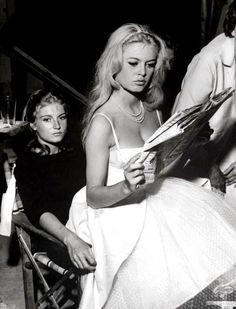 Mijanou and Brigitte Bardot. Brigitte Bardot is my fave. Brigitte Bardot, Bridget Bardot, Divas, Most Beautiful Women, Beautiful People, Photo Trop Belle, Isabelle Adjani, And God Created Woman, Catherine Deneuve