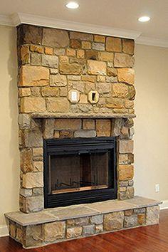 Washington waterfront living room stone fireplace modern grey