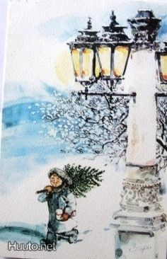 ' Street Lamp, Christmas Tree, Lamps, Painting, Art, Teal Christmas Tree, Lightbulbs, Art Background, Xmas Trees