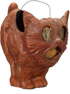 1930's Standing Scary Cat Jack-o-Lantern. Pulp Papier-Mache.