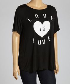 This Black 'Love' Scoop Neck Tee - Plus by Yummy is perfect! #zulilyfinds