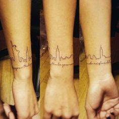 """Wristband tattoo saying """"Rule your mind or it will rule you"""" together with the skyline of New York, by Jay Shin. New York Tattoo, Nyc Tattoo, London Tattoo, Samoan Tattoo, Polynesian Tattoos, Armband Tattoo, Tattoo Bracelet, Wrist Tattoo, Dot Tattoos"""