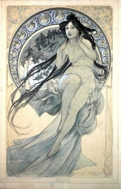 Alphonse Mucha, The Arts: Study for Music, 1898, Pencil and watercolor on paper, 56 x 34,8 cm