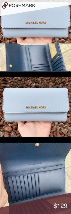 7663c701611a Michael Kors trifold wallet blue Saffiano Leather Trifold wallet w/ snap  button closure Zipper pocket