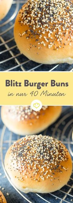 Blitz Burger Buns - the perfect burger bar in just 40 minutes .- Blitz Burger Buns – in nur 40 Minuten zum perfekten Burgerbrötchen These buns need only 10 minutes before flattening, compared to other recipes where the dough has to go for 1 hour. Burger Recipes, Grilling Recipes, Vegetarian Recipes, Pizza Recipes, Bread Recipes, Burger Co, Burger Buns, Burger Party, Different Recipes