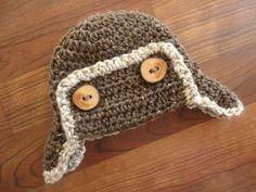 Crocheted Baby Aviator Ear Flap Hat with by KaraAndMollysKids, $21.50