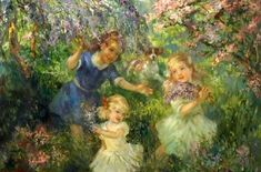 Children Playing Among Flowers
