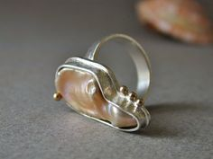 A One of a Kind Ring! | Lustrous, Pink Keshi Pearl Ring in Sterling Silver and 14kt Gold | @Betsy Bensen @Etsy