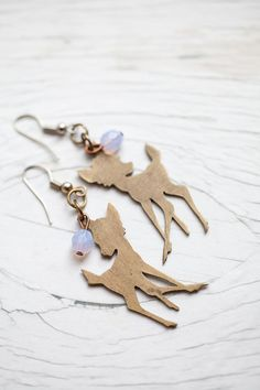 Bambi earrings . Recycled . Light lilac beads . by WhiteLilyDesign
