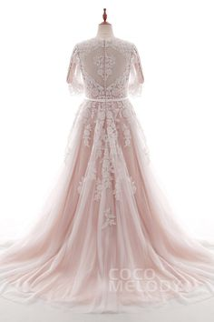 Charming A-Line V-Neck Natural Court Train Tulle and Lace Ivory/Champagne 3/4 Length Sleeve Zipper With Buttons Wedding Dress with Appliques Beading and Sashes #LD4493 #cocomelody #weddingdresses