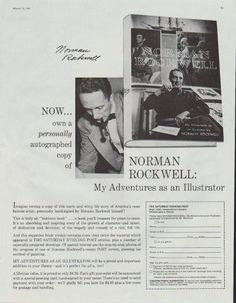 "Description: 1961 NORMAN ROCKWELL vintage print advertisement ""My Adventures as an Illustrator""""Now ... own a personally autographed copy ... "" Size: The dimensions of the full-page advertisement are approximately 11 inches x 14 inches (28cm x 36cm). Condition: This original vintage advertisement is in Very Good Condition unless otherwise noted ()."