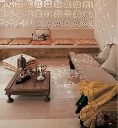 Bohemian Home Interiors: Moroccan style sitting room- build storage under seating Moroccan Design, Moroccan Decor, Moroccan Style, Moroccan Garden, Moroccan Lounge, Indian Style, Moroccan Bedroom, Moroccan Furniture, Moroccan Lanterns