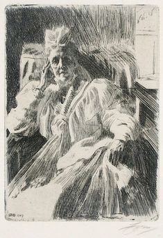 Anders Zorn : Queen Dowager Sophia Wilhemina Mariana Henrietta of Sweden II at Davidson Galleries