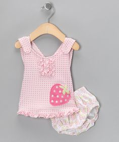Look what I found on #zulily! Pink Strawberry Polka Dot Tank & Diaper Cover - Infant by Rumble Tumble #zulilyfinds