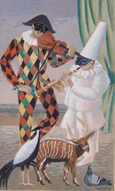 Gino Severini | 1883-1966, Italy | arlecchino e pulcinella / harlequin and pulcinella