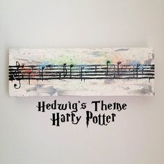 """Harry Potter, Hedwig Song, Main Theme, Watercolor Style, Sheet Music - 4"""" x 12"""" Acrylic Video Movie, Book Wall Art on gallery canvas"""