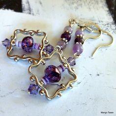 Framed Purple Earrings by MangoTease