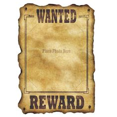 Western Wanted Sign, great party accessory, just attached the party girl/boy's photo