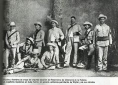 Oficiales y tropa española en la guerra de Cuba