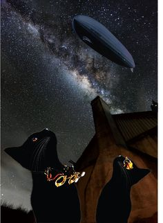 2 Steampunk Cats watching an air ship pass over Steampunk Animals, Steampunk Cat, Steampunk Theme, Cat Watch, Cat Art, Animals And Pets, Cute Cats, Creatures, Puppies