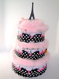 Diaper Cake  Eiffel Tower Paris Pink & by DomesticDivaDesignz,