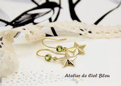 14K Gold Filled Peridot Star Earrings by AtelierdeCielBleu