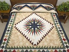 Mariners Compass Quilt -- marvelous specially made Amish Quilts from Lancaster (hs6082)