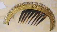 French gilt metal crystal set tiara with tortoiseshell comb