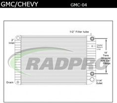 Plastic Aluminum, GMC / Chevy Radiator, OEM#'s, 580004, 580004ST, GMC04, GMC20, SCSI239338, 239338, TR9338, GMC7346, 437346S, RA1090, 1R2679