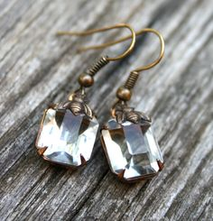 Vintage Crystal  A/B Bee  Antiqued Brass Drop by swerlygirl, $22.00