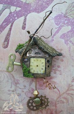 Miniature Fairy Clock OOAK Sculpture for the Fairy by FairyWillow, $40.00