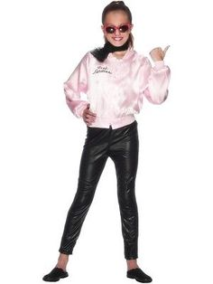 3b91f787eaf116 Grease girls pink  ladies jacket 1950s  fancy dress costume  outfit kids  children