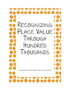 Use this sheet to review place value through the hundred thousands. Practice using five different numbers, FREE