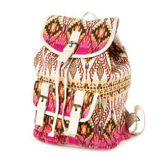 Aztec Print Linen Backpack with Faux Leather Trim | Claire's